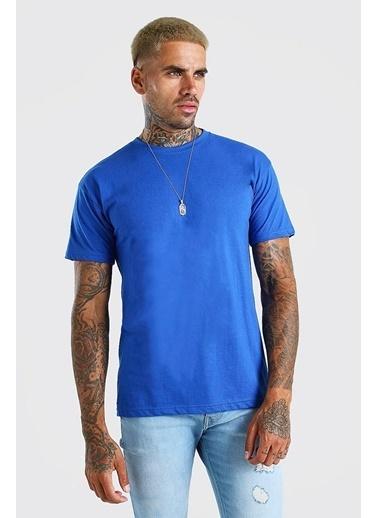 XHAN Lacivert Bisiklet Yaka T-Shirt  Lacivert